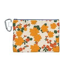 Vintage Floral Wallpaper Background In Shades Of Orange Canvas Cosmetic Bag (m)