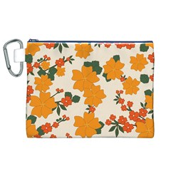 Vintage Floral Wallpaper Background In Shades Of Orange Canvas Cosmetic Bag (XL)