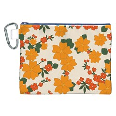 Vintage Floral Wallpaper Background In Shades Of Orange Canvas Cosmetic Bag (XXL)