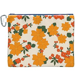 Vintage Floral Wallpaper Background In Shades Of Orange Canvas Cosmetic Bag (xxxl)