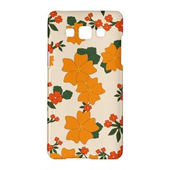 Vintage Floral Wallpaper Background In Shades Of Orange Samsung Galaxy A5 Hardshell Case