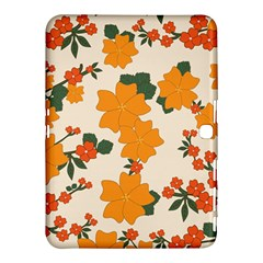 Vintage Floral Wallpaper Background In Shades Of Orange Samsung Galaxy Tab 4 (10.1 ) Hardshell Case