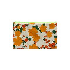 Vintage Floral Wallpaper Background In Shades Of Orange Cosmetic Bag (xs)