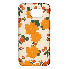 Vintage Floral Wallpaper Background In Shades Of Orange Galaxy S6