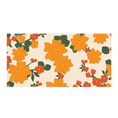 Vintage Floral Wallpaper Background In Shades Of Orange Satin Wrap