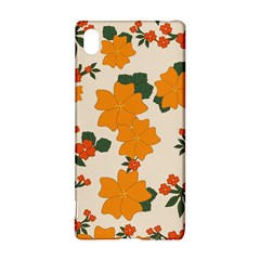 Vintage Floral Wallpaper Background In Shades Of Orange Sony Xperia Z3+