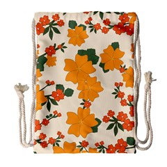 Vintage Floral Wallpaper Background In Shades Of Orange Drawstring Bag (Large)