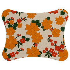 Vintage Floral Wallpaper Background In Shades Of Orange Jigsaw Puzzle Photo Stand (Bow)