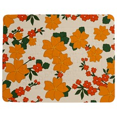Vintage Floral Wallpaper Background In Shades Of Orange Jigsaw Puzzle Photo Stand (Rectangular)