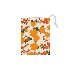 Vintage Floral Wallpaper Background In Shades Of Orange Drawstring Pouches (XS)