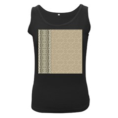 Abstract Background With Floral Orn Illustration Background With Swirls Women s Black Tank Top