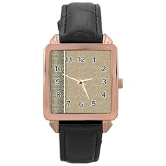 Abstract Background With Floral Orn Illustration Background With Swirls Rose Gold Leather Watch