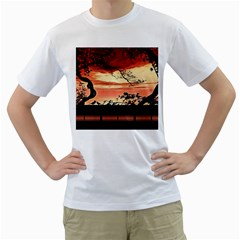 Autumn Song Autumn Spreading Its Wings All Around Men s T-Shirt (White) (Two Sided)