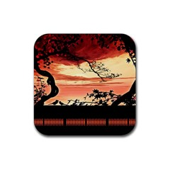 Autumn Song Autumn Spreading Its Wings All Around Rubber Coaster (Square)