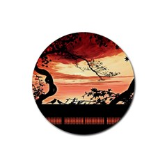 Autumn Song Autumn Spreading Its Wings All Around Rubber Round Coaster (4 Pack)