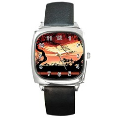 Autumn Song Autumn Spreading Its Wings All Around Square Metal Watch