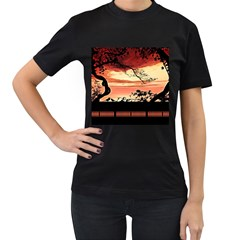 Autumn Song Autumn Spreading Its Wings All Around Women s T Shirt (black) (two Sided)