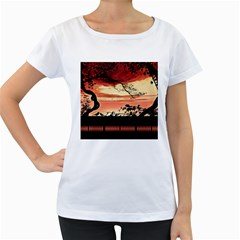 Autumn Song Autumn Spreading Its Wings All Around Women s Loose-Fit T-Shirt (White)