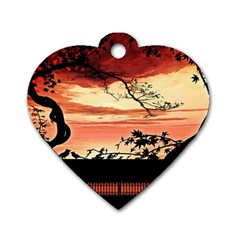 Autumn Song Autumn Spreading Its Wings All Around Dog Tag Heart (One Side)