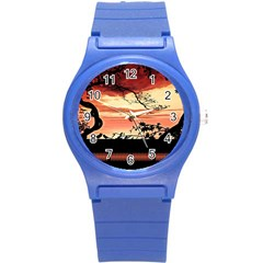 Autumn Song Autumn Spreading Its Wings All Around Round Plastic Sport Watch (S)