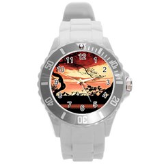Autumn Song Autumn Spreading Its Wings All Around Round Plastic Sport Watch (L)