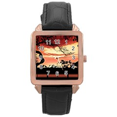 Autumn Song Autumn Spreading Its Wings All Around Rose Gold Leather Watch