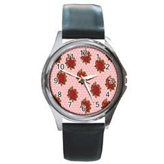 Pink Polka Dot Background With Red Roses Round Metal Watch