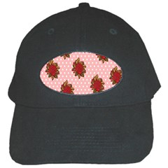Pink Polka Dot Background With Red Roses Black Cap