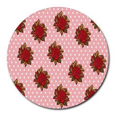 Pink Polka Dot Background With Red Roses Round Mousepads