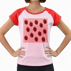 Pink Polka Dot Background With Red Roses Women s Cap Sleeve T-Shirt