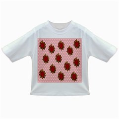 Pink Polka Dot Background With Red Roses Infant/Toddler T-Shirts