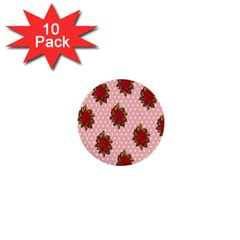 Pink Polka Dot Background With Red Roses 1  Mini Buttons (10 Pack)
