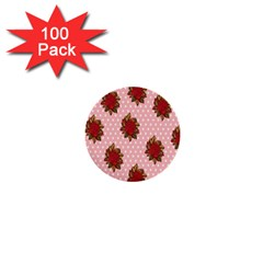 Pink Polka Dot Background With Red Roses 1  Mini Buttons (100 Pack)