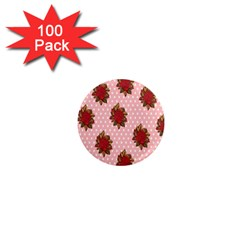 Pink Polka Dot Background With Red Roses 1  Mini Magnets (100 Pack)