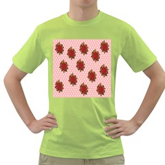 Pink Polka Dot Background With Red Roses Green T Shirt