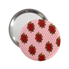 Pink Polka Dot Background With Red Roses 2 25  Handbag Mirrors