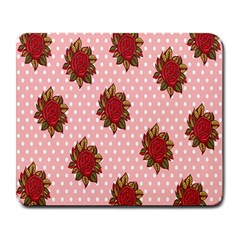 Pink Polka Dot Background With Red Roses Large Mousepads