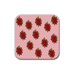 Pink Polka Dot Background With Red Roses Rubber Square Coaster (4 pack)