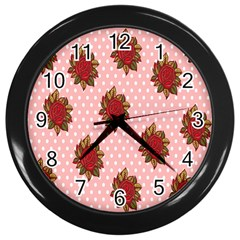 Pink Polka Dot Background With Red Roses Wall Clocks (black)