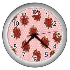 Pink Polka Dot Background With Red Roses Wall Clocks (Silver)