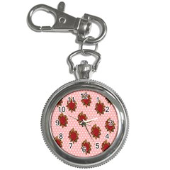 Pink Polka Dot Background With Red Roses Key Chain Watches