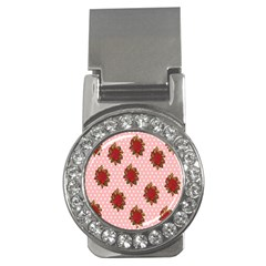 Pink Polka Dot Background With Red Roses Money Clips (cz)