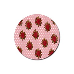 Pink Polka Dot Background With Red Roses Rubber Round Coaster (4 pack)