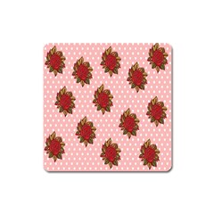 Pink Polka Dot Background With Red Roses Square Magnet