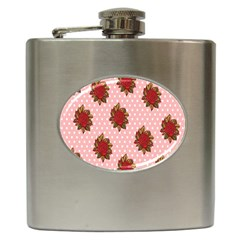 Pink Polka Dot Background With Red Roses Hip Flask (6 oz)