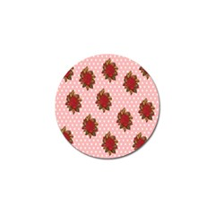 Pink Polka Dot Background With Red Roses Golf Ball Marker