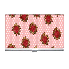 Pink Polka Dot Background With Red Roses Business Card Holders