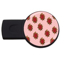 Pink Polka Dot Background With Red Roses USB Flash Drive Round (2 GB)