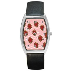 Pink Polka Dot Background With Red Roses Barrel Style Metal Watch