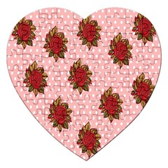 Pink Polka Dot Background With Red Roses Jigsaw Puzzle (Heart)